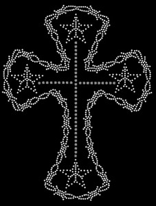 Barbed Cross Rhinestone Heat Transfer