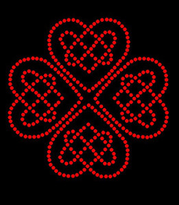 Celtic Hearts Rhinestone Heat Transfer