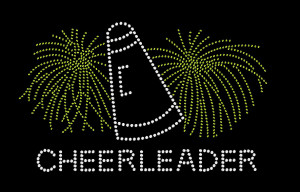 Cheerleader Pompom Rhinestone Heat Transfer
