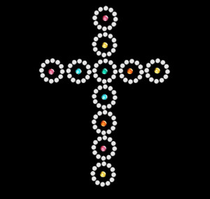 Rounded Cross Rhinestone Heat Transfer
