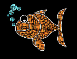 Goldfish Rhinestone Heat Transfer