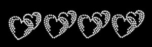 4 Hearts Rhinestone Heat Transfer